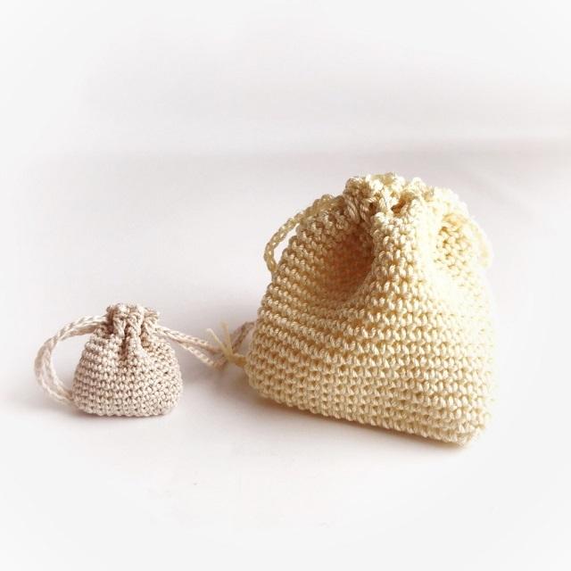 手編み雑貨 はなはんど リングケース レース巾着 ミニサイズ