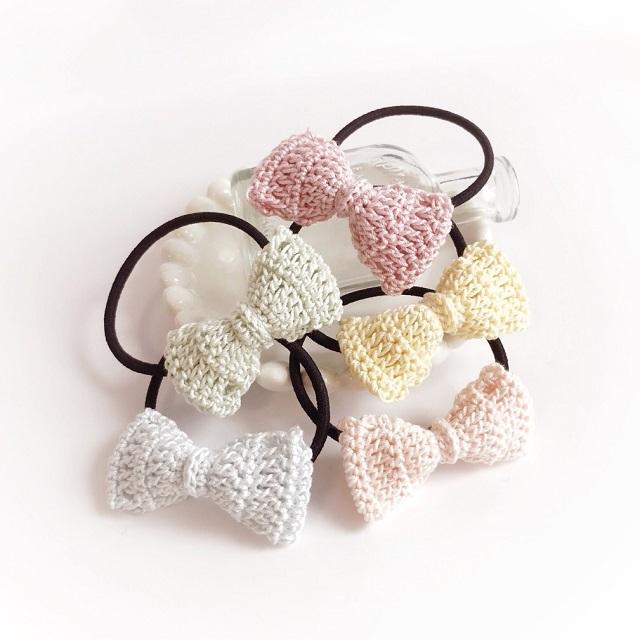 手編み雑貨 はなはんど リボンのヘアゴム パステルレース セット