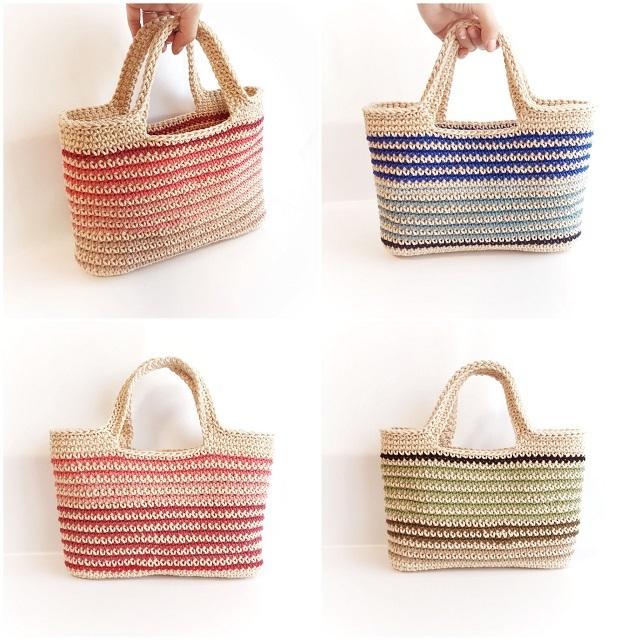 手編み雑貨 HanahanD コットンバッグ ハンドバッグ 手編みかばん