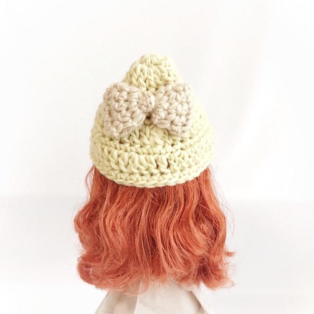 手編み雑貨 HanahanD ネオブライス 帽子 ウール リボン