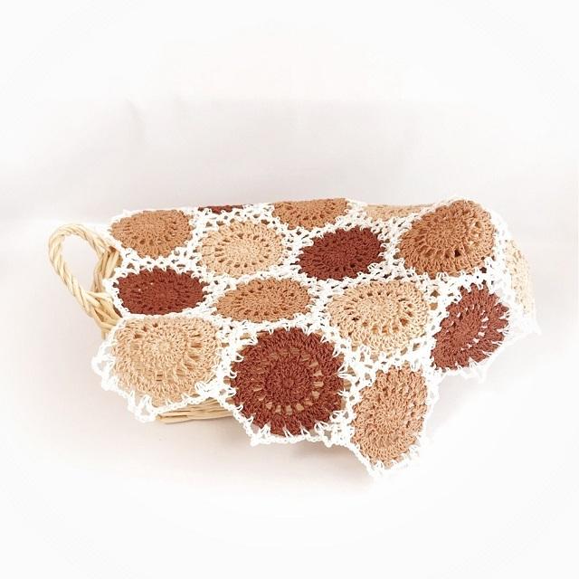 手編み雑貨 HanahanD ドイリー 敷物 モチーフつなぎ
