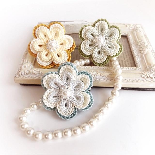 手編み雑貨 HanahanD 花 モチーフ ヘアゴム レース パール