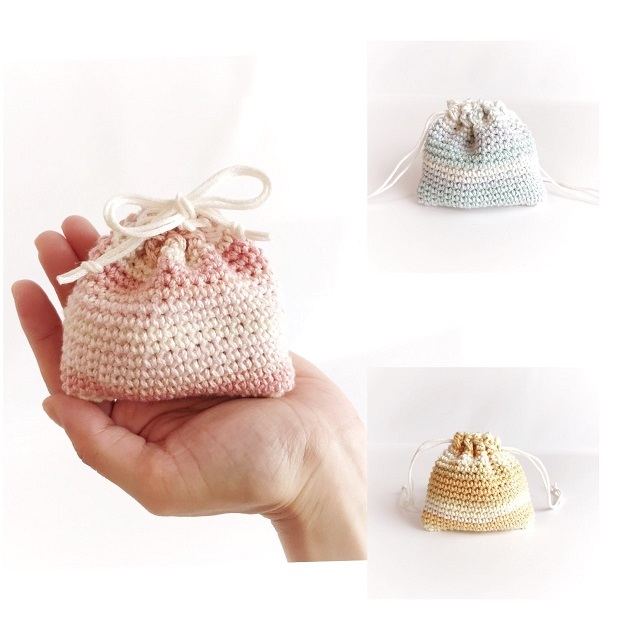 手編み雑貨 ハナハンド グラデーション パステル 巾着