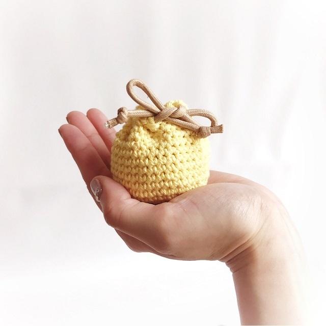 手編み雑貨 はなはんど マカロン オーガニック 巾着袋