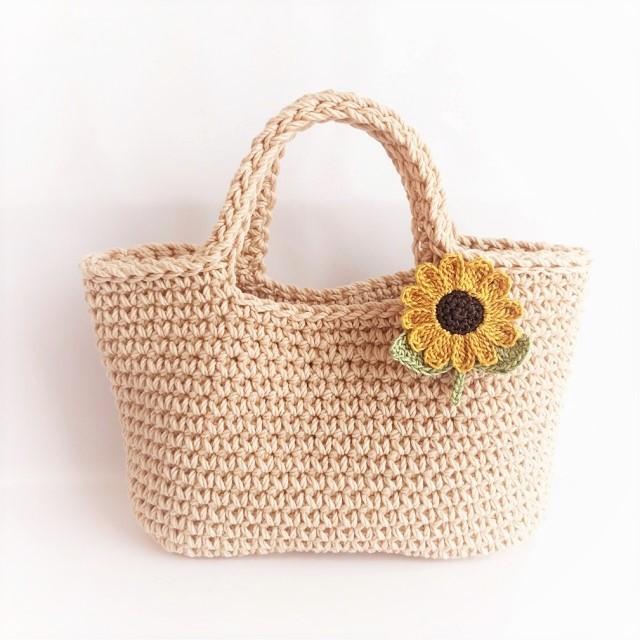 手編み雑貨 はなはんど ひまわりアクセサリー ブローチ ヘアゴム ヘアピン