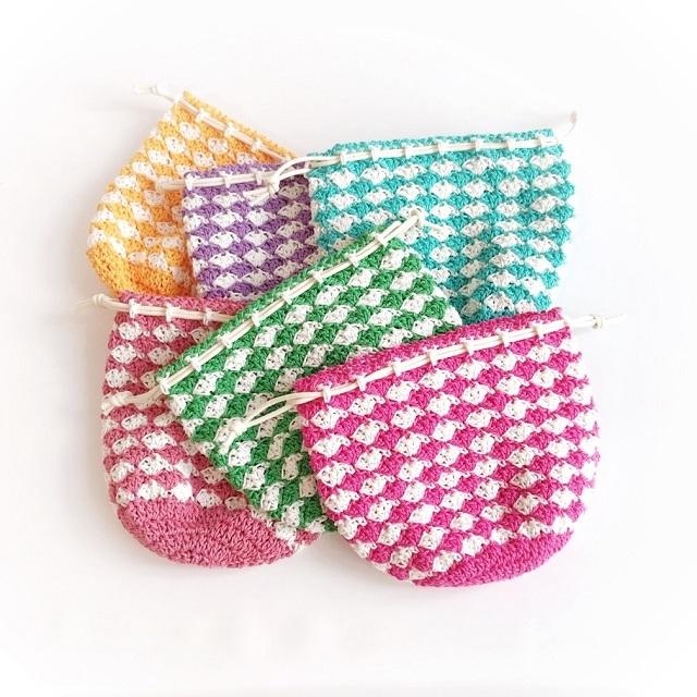 #手編み雑貨#はなはんど#巾着#コットン手編み巾着
