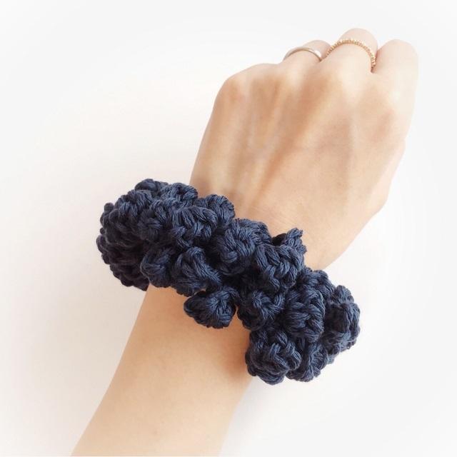 手編み雑貨 HanahanD ウール 大人 秋 シュシュ