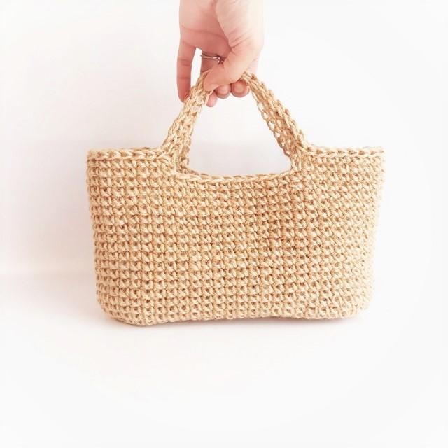 手編み雑貨 HanahanD 麻バッグ 手編みバッグ かごバッグ