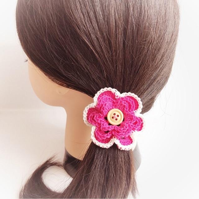 手編み雑貨 HanahanD 花モチーフ コットンのヘアゴム