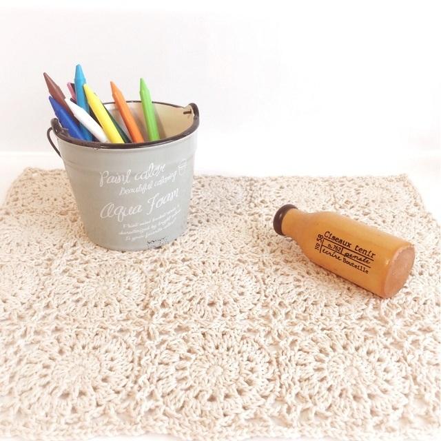 手編み雑貨 HanahanD モチーフつなぎ ドイリー シルク コットン