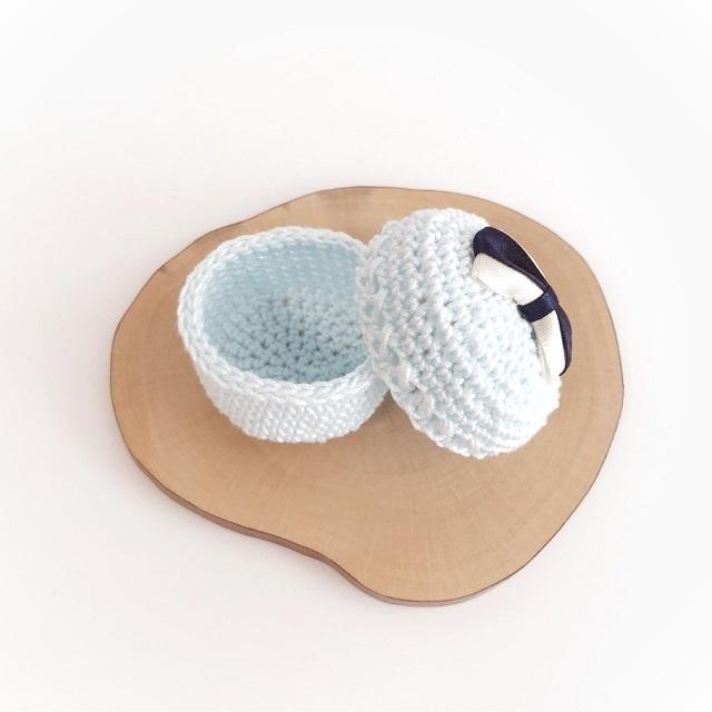 手編み雑貨 HanahanD アクセサリーケース マカロン レース パステル