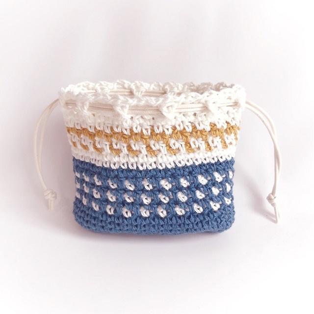 手編み雑貨 HanahanD リネン カラーニュアンス 巾着