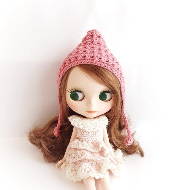 手編み雑貨 HanahanD ネオブライス ブライス 頭巾 帽子