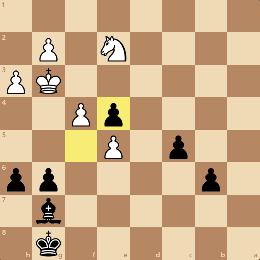 ビショップ対ナイトのエンドゲーム。黒は連結パスポーンがあり有利
