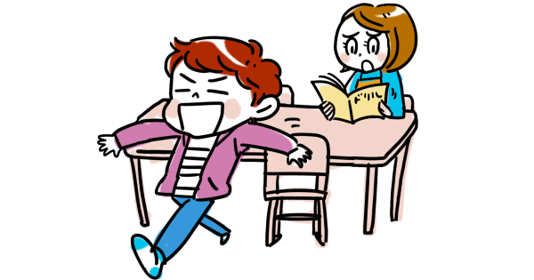 勉強を途中でやめてしまう男の子と、イラッとしているお母さん