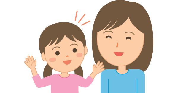 楽しそうに会話している女の子とお母さん