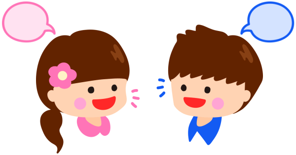 会話している男の子と女の子
