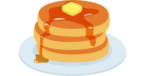 バターとメープルシロップがのったホットケーキ