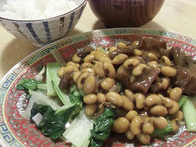 青菜炒めを相盛りにしました