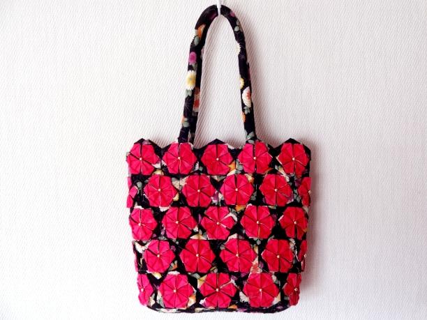 花バッグ和柄黒×ピンク1
