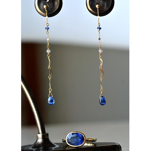 K18YG製イエローゴールドカイヤナイトリング指輪サファイアピアスロングピアス