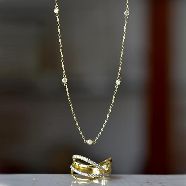 K18YG製イエローゴールドダイアモンドリング指輪ダイアモンドステーションネックレス
