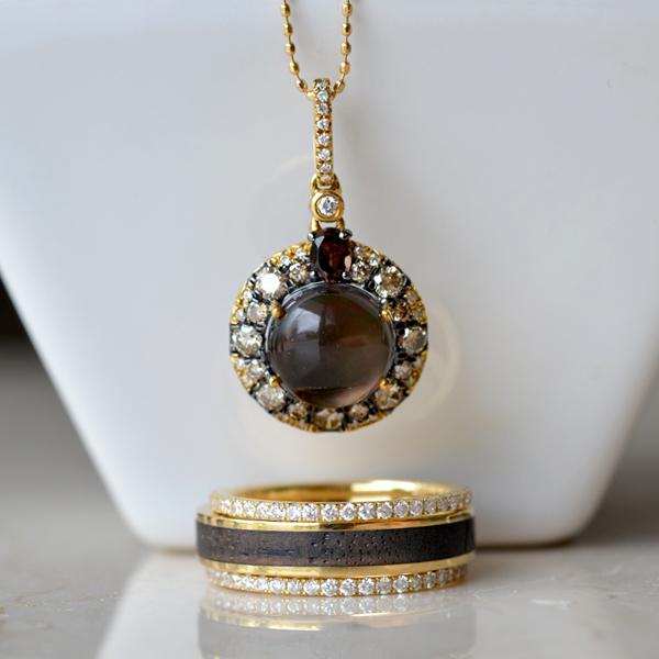K18YG製イエローゴールドダイアモンドブラウンダイアモンドスモーキークォーツペンダントネックレスダイアモンドハーフエタニティリング指輪黒檀リング