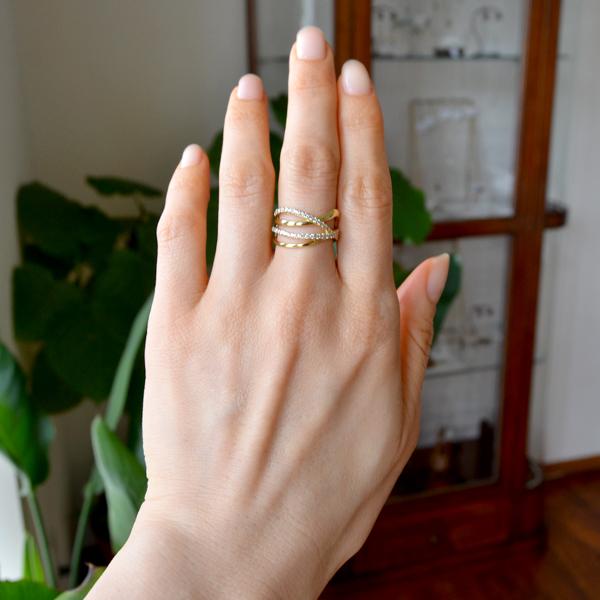 K18YG製イエローゴールドダイアモンドリング指輪