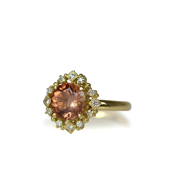 K18YG製イエローゴールドサンストーンダイアモンドリング指輪オーダーメイドジュエリー