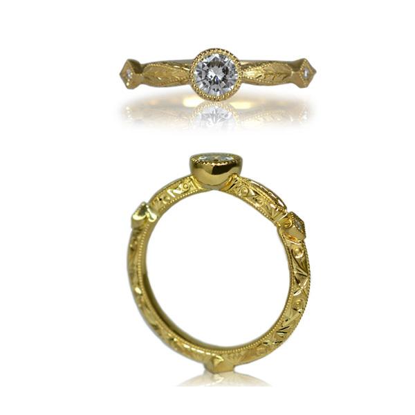 K18YG製イエローゴールドダイアモンド彫金手彫りリング指輪