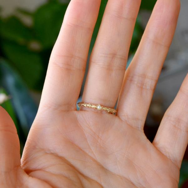 K18YG製イエローゴールドダイアモンド彫金手彫りリング指輪4