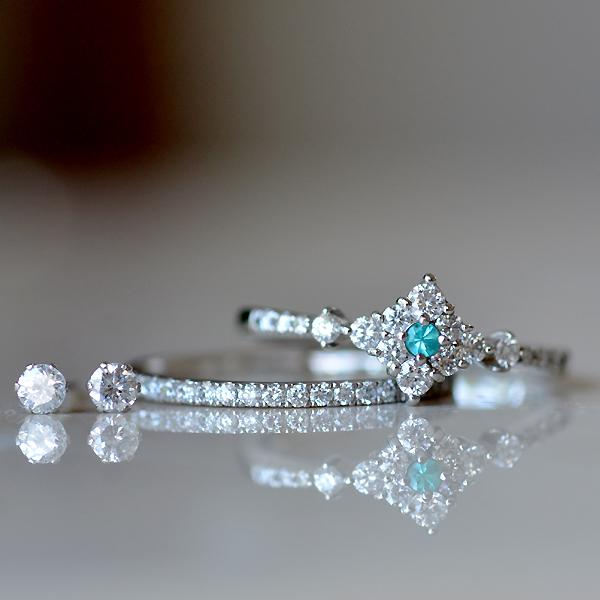 Pt900製プラチナパライバトルマリンダイアモンドリング指輪ハーフエタニティスタッドピアス