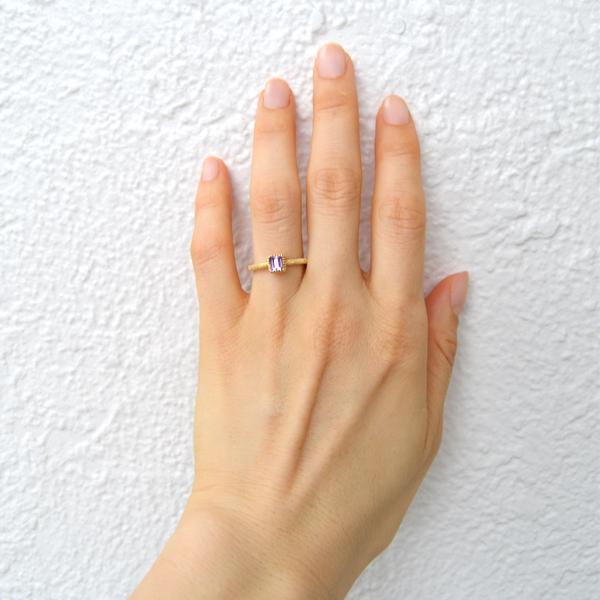 K18YG製イエローゴールドピンクトパーズリング指輪