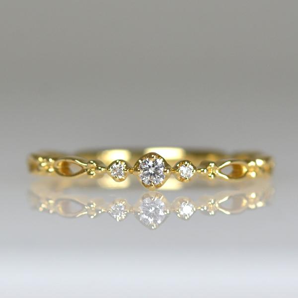 K18YG製イエローゴールドダイアモンド3ストーンリング指輪