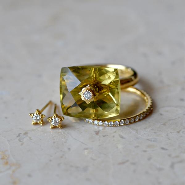 K18YG製イエローゴールドダイアモンド星スターモチーフピアスハーフエタニティリング指輪レモンクォーツ