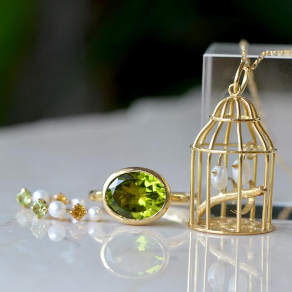 K18YG製ペリドットリング指輪淡水真珠鳥籠ミニチュアペンダントピアス