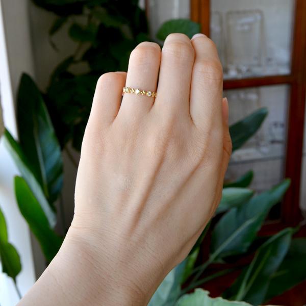 K18YG製イエローゴールドダイアモンドスリーストーン3ストーンリング指輪