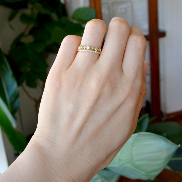 K18YG製イエローゴールドダイアモンドリングハーフエタニティ重ね付けリング指輪