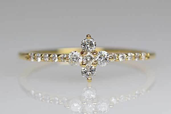 K18YG製ダイアモンドリング指輪花モチーフ