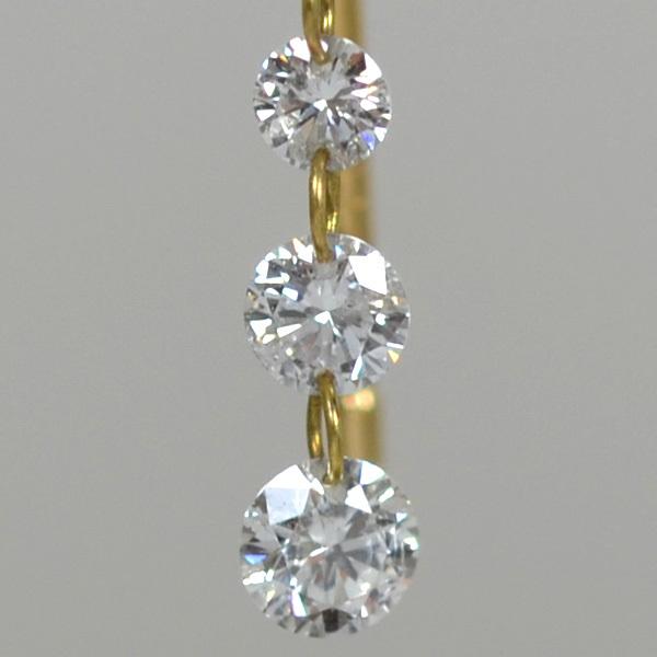 K18YG製レーバーホールダイアモンドピアス