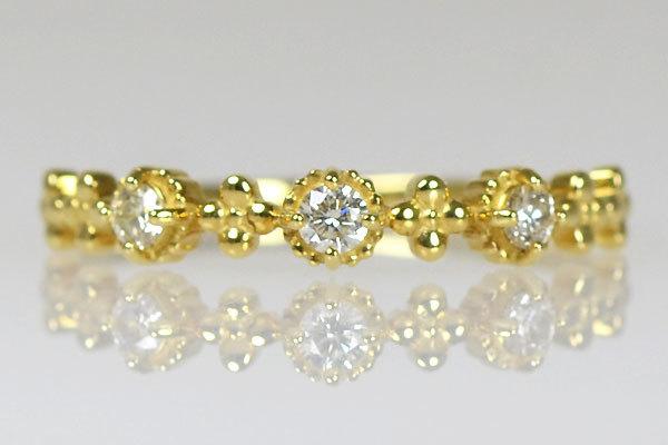 K18YG製ダイアモンドスリーストーンリング指輪