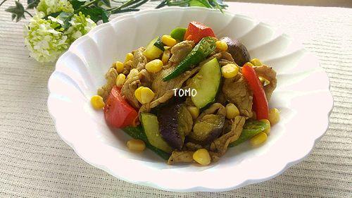 夏野菜と豚肉のカレー粉炒め