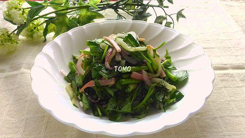空芯菜とハムのポン酢サラダ