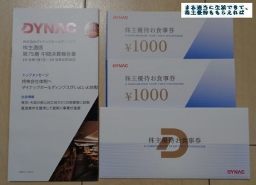 ダイナック 優待券 2000円相当 210806