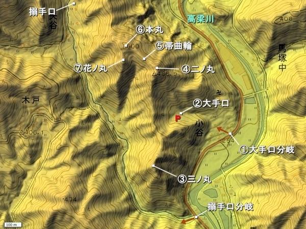 楪城地形図