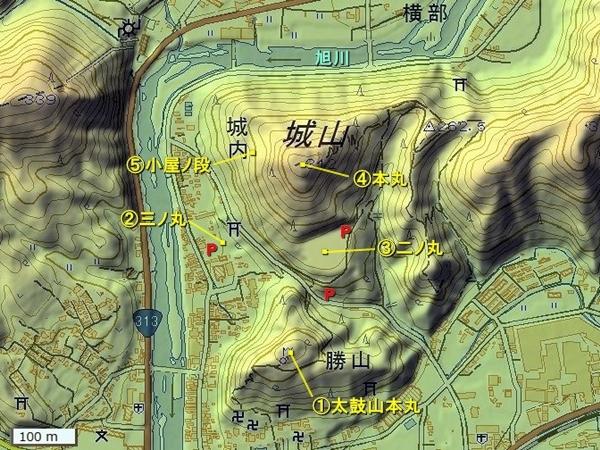 美作高田城地形図