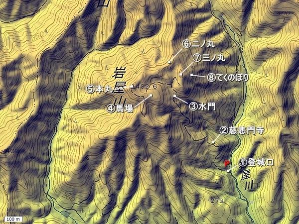 岩屋城地形図