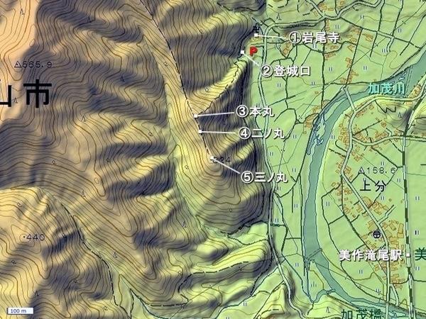 医王山城地形図