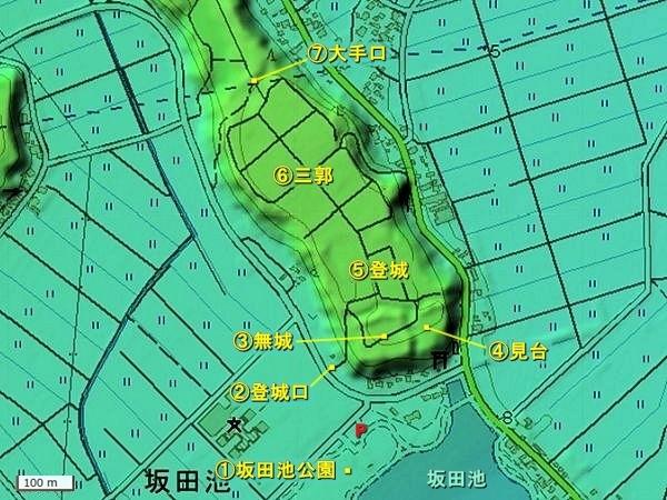 坂田城地形図