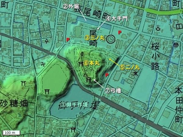 本荘城地形図